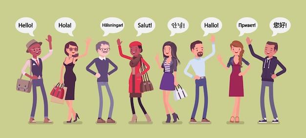 Hallo groet in talen en een groep diverse mensen