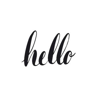 Hallo groet typografie stijl vector