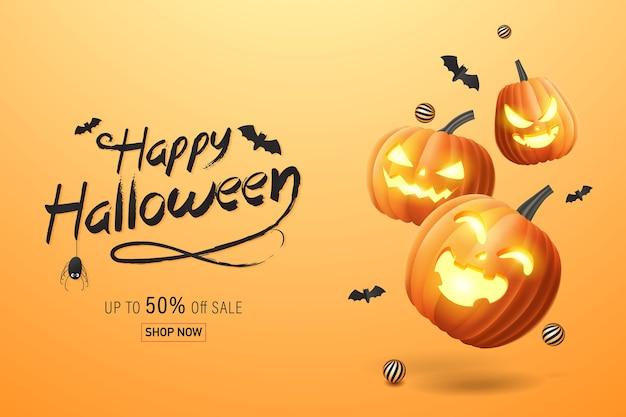 Hallo halloween happy halloween banner, verkoop promotie banner met vleermuizen en halloween pompoenen. 3d illustratie