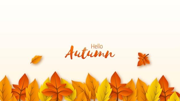 Hallo herfst achtergrond met bladeren decoratie geïsoleerd op witte eps vector