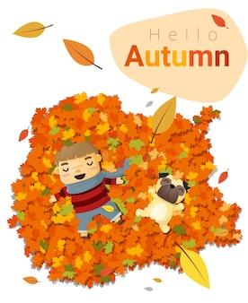 Hallo herfst achtergrond met kleine jongen