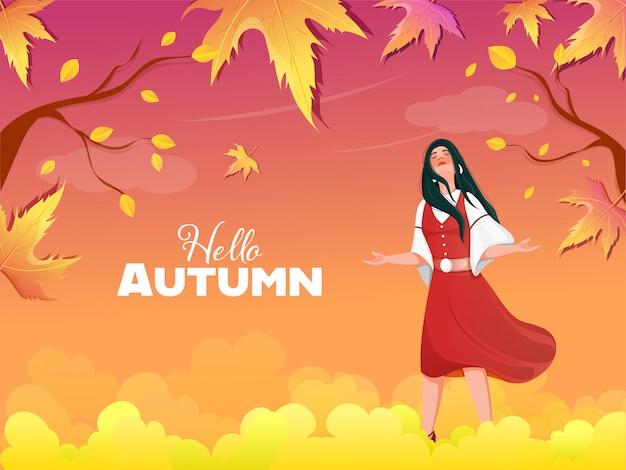 Hallo herfst achtergrond met kleurovergang met mooie jonge meisje genieten.