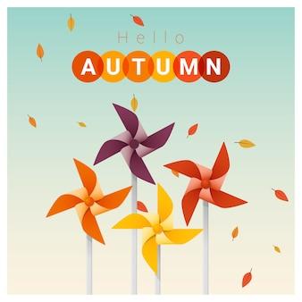 Hallo herfst achtergrond met kleurrijke pinwheels