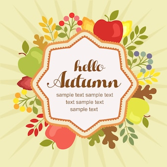 Hallo herfst appel vlakke stijl
