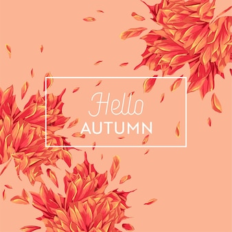 Hallo herfst aquarel bloemdessin met esdoornblad. seizoensgebonden herfstbanner, poster, print, verkoop, promosjabloon. herfst abstracte achtergrond. vector illustratie