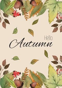 Hallo herfst. aquarel illustratie met gekleurde bladeren en hand belettering