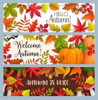 Hallo herfst banners met vallende bladeren