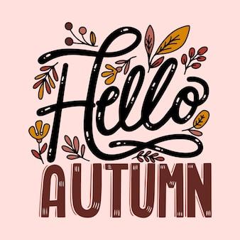 Hallo herfst belettering ontwerp met bladeren