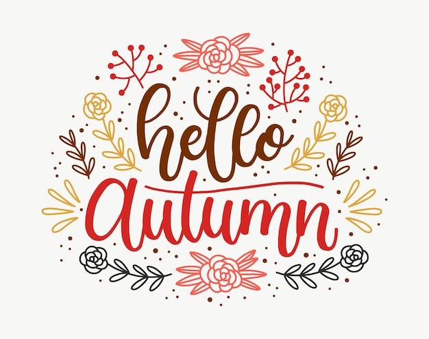 Hallo herfst belettering ontwerp