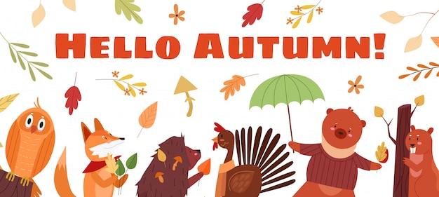 Hallo herfst belettering tekst concept illustratie. cartoon schattige herfst seizoen achtergrond met grappige uil fox egel pik beer bever tekens en vallende seizoensgebonden bladeren of paddenstoelen