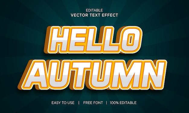 Hallo herfst bewerkbaar 3d-teksteffect met premium vector
