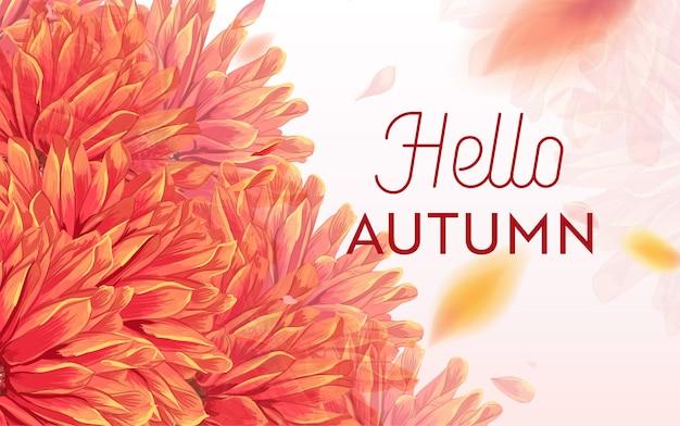 Hallo herfst bloemdessin. seizoensgebonden herfst floral achtergrond sjabloon voor webbanner, poster, folder, verkoop, promo, print. aquarel bloemen. vector illustratie