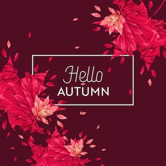 Hallo herfst bloemdessin. seizoensgebonden herfst floral achtergrond voor webbanner, poster, folder, verkoop, promo, print. aquarel asters bloemen. vector illustratie