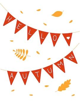 Hallo herfst briefkaart belettering op vlaggen.
