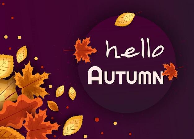 Hallo herfst. concept herfst reclame. illustratie op de achtergrond van herfstbladeren.
