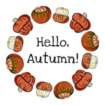 Hallo herfst decoratieve krans banner met schattige kleurrijke tulband pompoenen