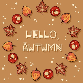 Hallo herfst decoratieve krans leuke gezellige kaart