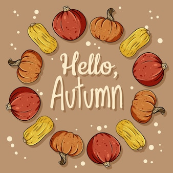 Hallo herfst decoratieve krans schattige gezellige banner met pompoenen.