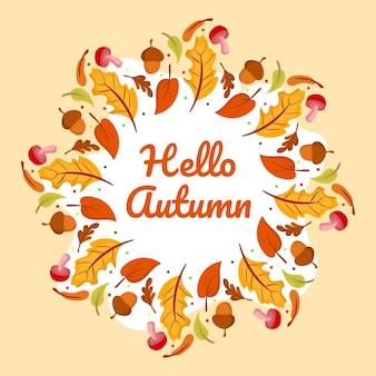 Hallo herfst frame achtergrond vectorillustratie