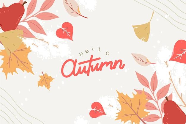 Hallo herfst hand getekende achtergrond
