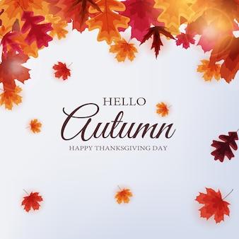 Hallo herfst. happy thanksgiving day achtergrond met vallende bladeren.