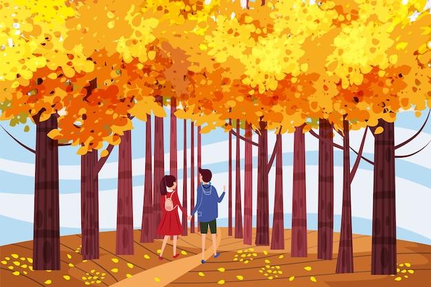 Hallo herfst, herfst steegje, paar jongen en meisje karakters wandelen langs het pad in het park, herfst, herfstbladeren, stemming