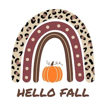 Hallo herfst herfstregenboog met pompoen luipaardregenboog vector herfstillustratie