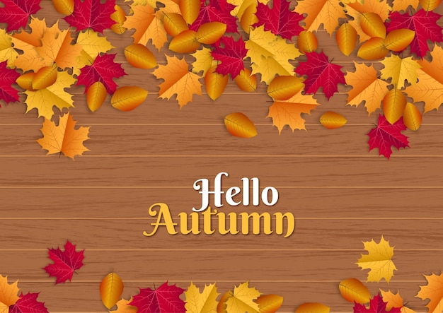 Hallo herfst illustratie met verspreide bladeren op hout achtergrond