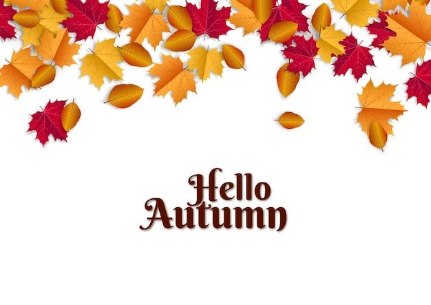 Hallo herfst illustratie met verspreide bladeren op witte achtergrond