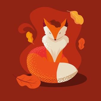 Hallo herfst illustratie met vos dier