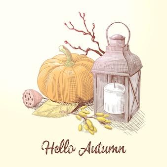 Hallo herfst illustratie