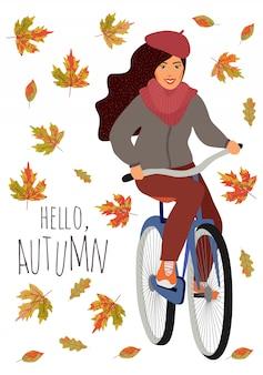 Hallo herfst. jong meisje die een fiets berijden tegen dalende esdoorn en eiken bladeren. leuke vector handgetekende cartoon illustratie