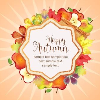 Hallo herfst levendige bladeren en mand met appel