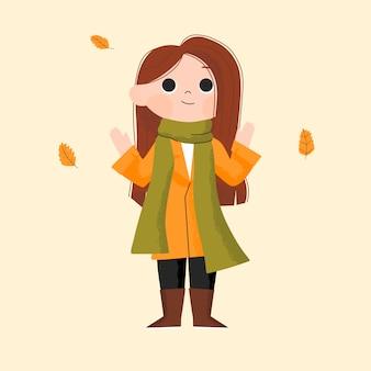 Hallo herfst. meisje dat de herfstkleren draagt die openluchtactiviteit doet. hand getekend kinderen karakter illustratie