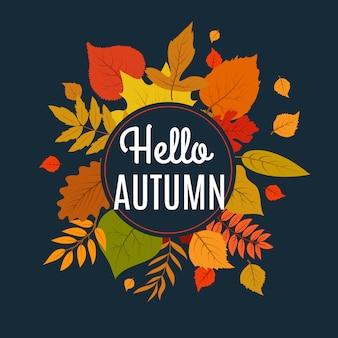 Hallo herfst met herfstbladeren. natuur herfst vector concept
