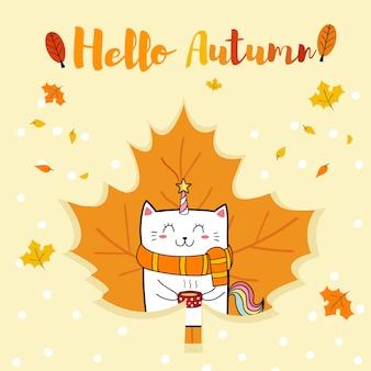 Hallo herfst met schattige kat eenhoorn cartoon