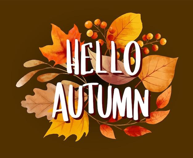 Hallo herfst met sierlijke bladeren bloem achtergrond herfst oktober handgetekende belettering sjabloon