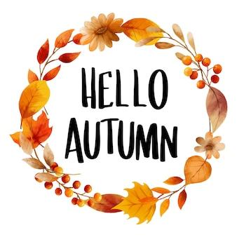 Hallo herfst met sierlijke bladeren bloem frame herfst oktober handgetekende belettering sjabloon