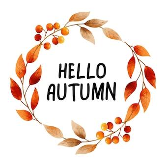 Hallo herfst met sierlijke bladeren bloem frame herfst oktober handgetekende belettering sjabloonontwerp