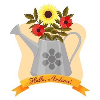 Hallo herfst. mooie lijst met gieter en bloemen. cartoon-stijl. vector illustratie. wenskaart.