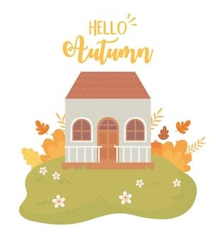 Hallo herfst natuur scène, huis verlaat bush bloemen gras landschap cartoon