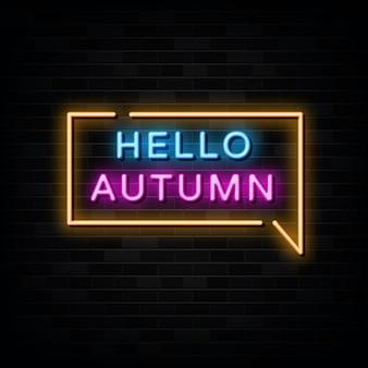 Hallo herfst neonreclames vector