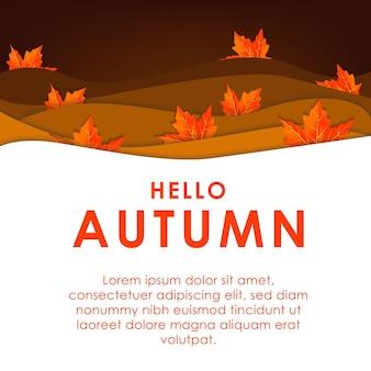Hallo herfst papier-kunst gelaagdheid concept bladeren