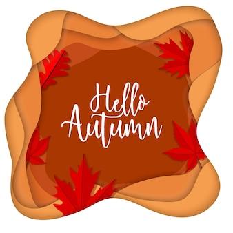 Hallo herfst papier-kunst gelaagdheid concept laat eik
