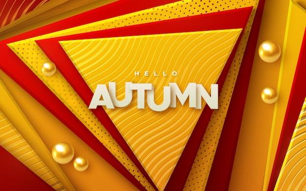 Hallo herfst papier ondertekenen op rode en oranje geometrische driehoek vormen abstracte achtergrond