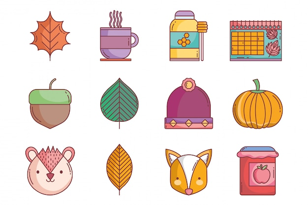 Hallo herfst pictogrammen collectie