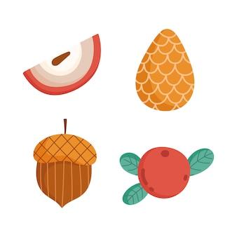 Hallo herfst pinecone fruit acorn seizoen pictogrammen.