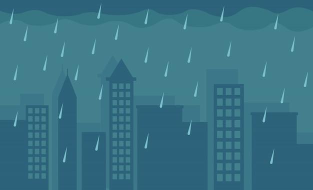 Hallo herfst, regenachtige dag, illustratie