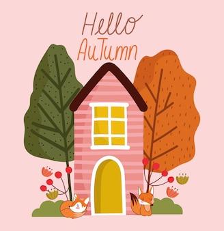 Hallo herfst, schattige vossen huis bomen bloemen bladeren.