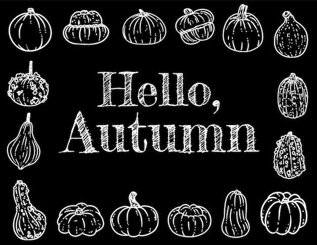 Hallo herfst schoolbord inscriptie schattige gezellige banner met pompoenen.